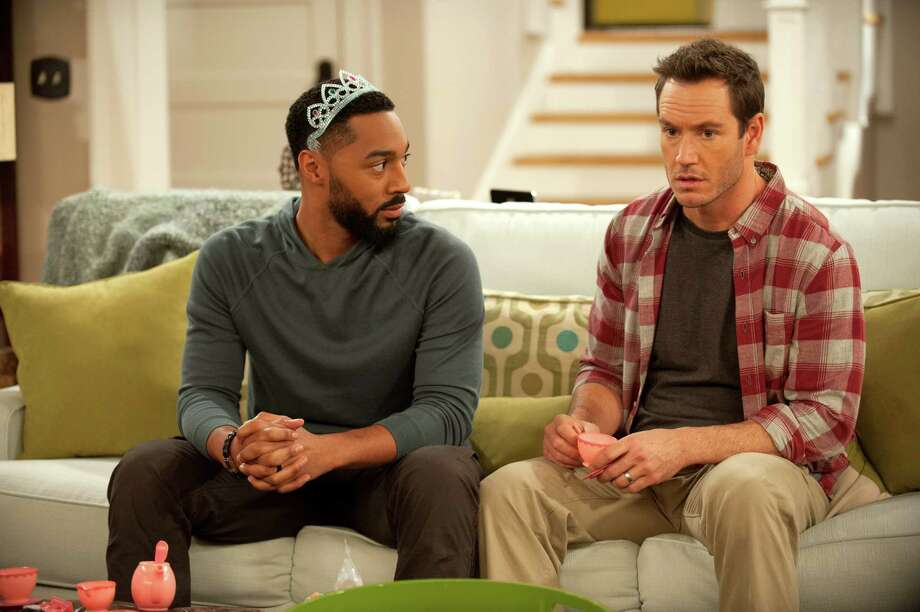 """Russell (Tone Bell) and Mitch (Mark-Paul Gosselaar) are friends who are always dealing with some hot-button issue in """"Truth Be Told."""" Photo: NBC / Colleen Hayes / NBC / 2015 NBCUniversal Media, LLC"""