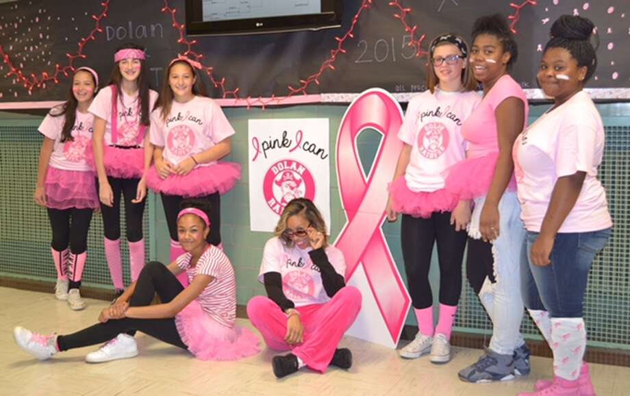 "Dolan Middle School held its second annual ""Pink Out"" last week to raise money for and awareness of breast cancer. Throughout the week, students participated in various awareness-raising activities. Photo: Contributed By Stamford Public Schools / Stamford Advocate Contributed"