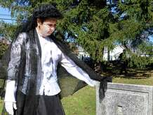 Mary Carneiro portrays Sarah Jane Brooks Potter during a Cemetery Tour in 2013 presented by Perserve New Fairfield. The tour will be held this year from 1 to 3 p.m. Sunday.