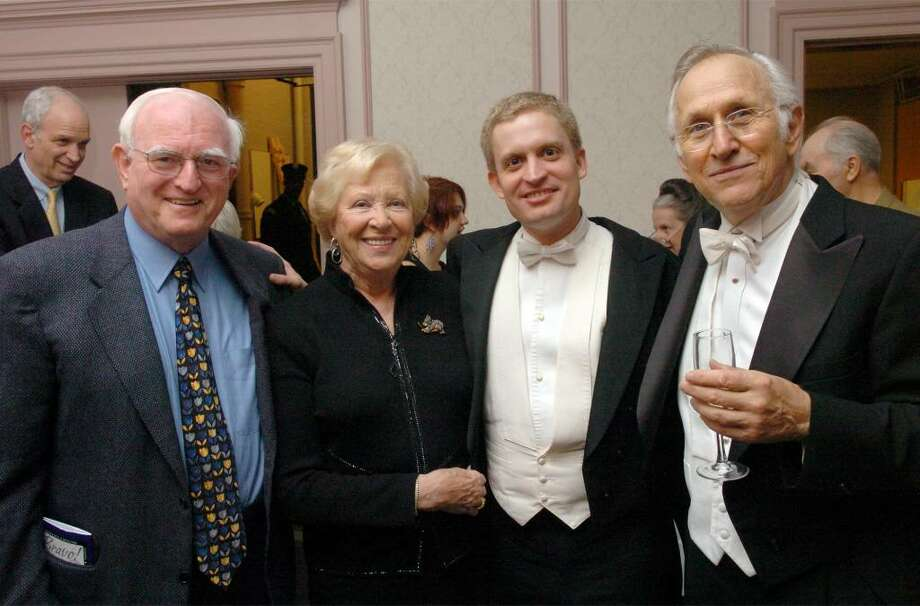 (From left) Herb Harrington, Doris Harrington, on the board of trustees, Andrew Armstrong, guest pianist, and Maestro Gustav Meier in the at the Klein Memorial Auditorium in Bridgeport in Oct. 2006 as the honoree of Governor Rell's proclamation naming October 7th, Gustav Meier Day, commemorating his 35th season with the Bridgeport Symphony. Photo: J Henninger, J Hennninger / CT Post