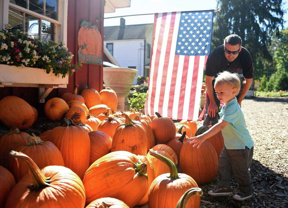 Jake Bryniczka, 2, and his father, Peter Bryniczka, of Stamford, pick out a pumpkin at Eden Farms on Monday. Eden Farms has a pumpkin patch, haunted house, hay bale maze and petting zoo open to the public every day through Halloween. There are also hayrides and pony rides open to the public on weekends, with private groups Monday through Friday. Photo: Tyler Sizemore / Hearst Connecticut Media / Greenwich Time