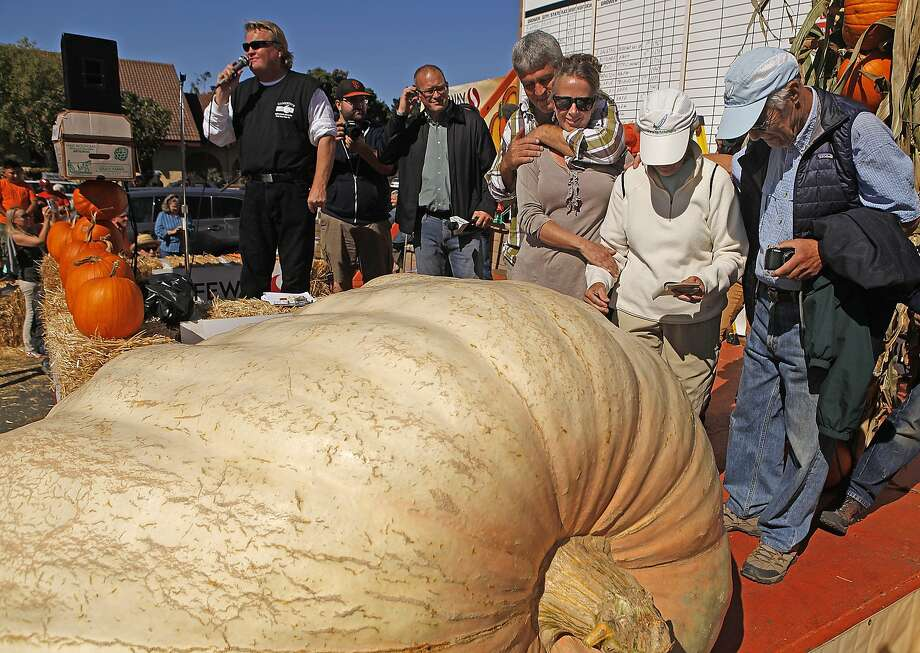 Steve Daletas, fourth from right, hugs his wife Susie or Pleasant Hill, Oregon, while standing on stage with his mother Jeanette and father Mitch, right, after Daletas' pumpkin weighed in at 1,969 pounds winning the 42nd annual Half-moon Bay Championship Pumpkin Weigh-off Monday October 12, 2015 in Halfmoon Bay, Calif. Photo: Brian Feulner, Brian Feulner/ San Francisco Chr