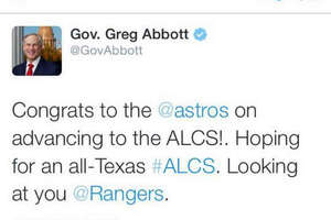 Gov. Abbott tweet blamed for Astros loss - Photo