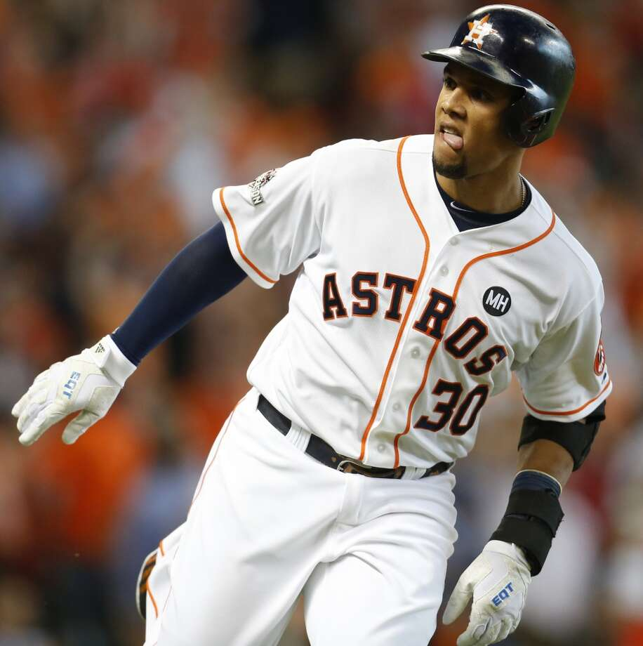 Houston Astros center fielder Carlos Gomez (30) rounds the bases after hitting a solo home run off Kansas City Royals starting pitcher Yordano Ventura during the second inning of Game 4 of the American League Division Series at Minute Maid Park on Monday, Oct. 12, 2015, in Houston. ( Brett Coomer / Houston Chronicle ) Photo: Chronicle