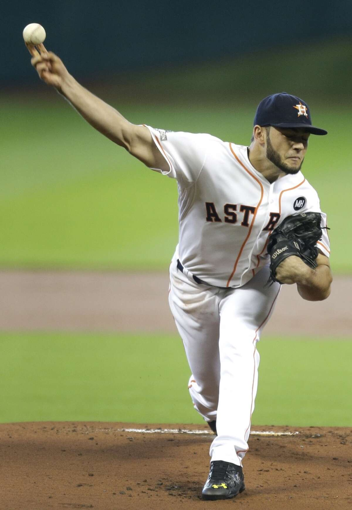 Houston Astros starting pitcher Lance McCullers (43) pitches against the Kansas City Royals during the first inning of Game 4 of the American League Division Series at Minute Maid Park on Monday, Oct. 12, 2015, in Houston. ( Brett Coomer / Houston Chronicle )