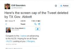 Gov. Greg Abbott jinxes Astros on Twitter, promptly deletes post, Internet loses mind - Photo