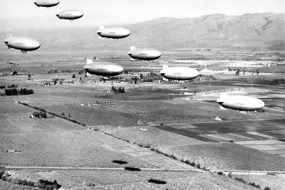 U.S Navy blimps  Dirigibles served as anti-submarine patrol duty  at Moffett Field  flying over the Naval Air Station in the SanFrancisco Bay Area  02/11/1944  Wide World Photos
