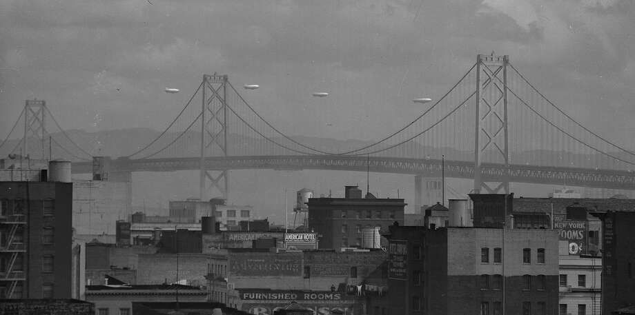 U.S Navy blimps fly over San Francisco and the Bay Bridge as part of Navy Day on Oct. 27, 1943. Photo:  Photographer Unknown, The Chronicle