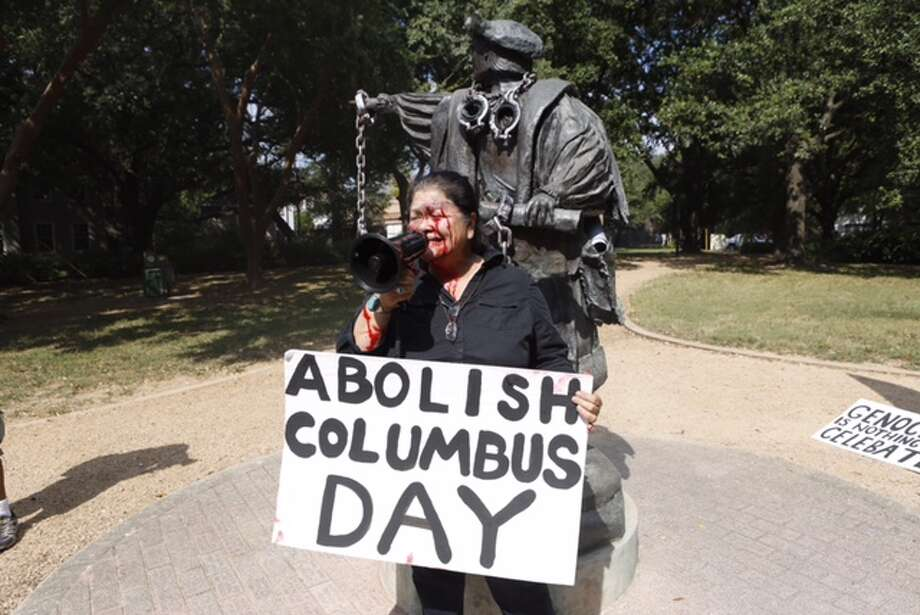 Protesting Columbus Day has become more visible over the years in Texas and around the country. Photo: Cody Duty, Houston Chronicle