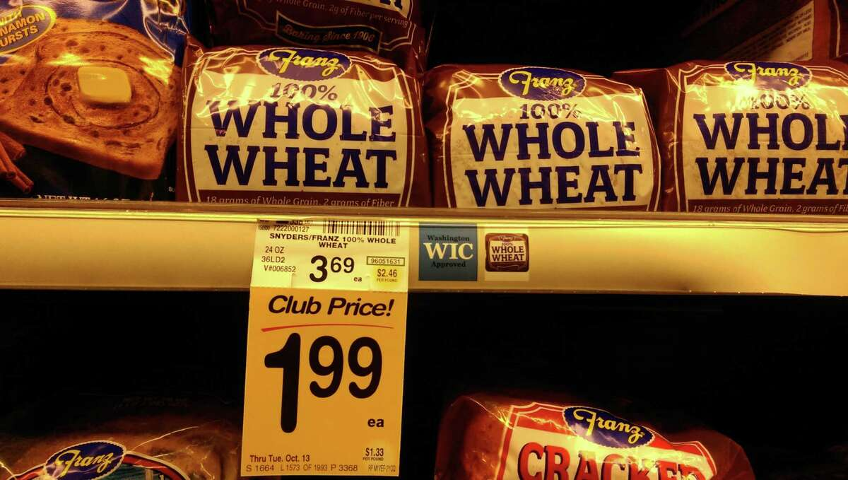 Safeway Franz whole wheat bread: $3.99 regular price, $1.99 club card sale