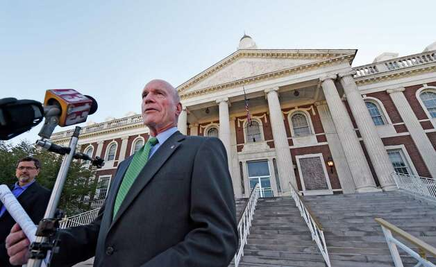 Mayoral candidate Roger Hull releases his proposals on public safety for the City Monday morning Oct. 12, 2015, on the steps of City Hall in Schenectady, N.Y.     (Skip Dickstein/Times Union) Photo: SKIP DICKSTEIN / 10033722A