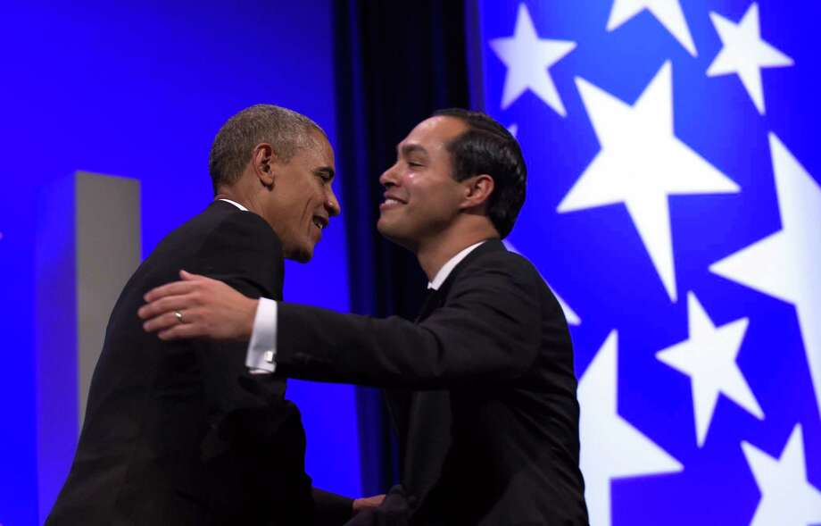 As Hispanic Heritage Month closes, it might be useful to note that, despite the rhetoric about Hispanics as takers, some have even become cabinet members. President Barack Obama hugs Housing and Urban Development Secretary Julian Castro as he arrives to speaks at the Congressional Hispanic Caucus Institute's (CHCI) 38th Anniversary Awards Gala in Washington recently. Photo: Susan Walsh /Associated Press / AP