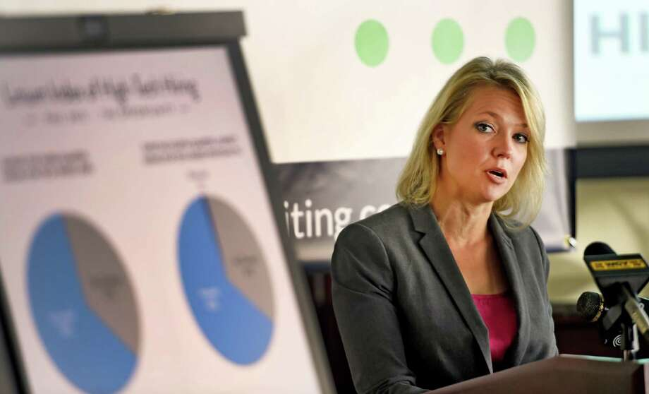 Miriam Dushane, Linium Recruiting's managing director ofro upstate New York outlines the results of the Linium Index of High-Tech Hiring study Monday morning Oct. 12, 2015, at the offices of Transfinder's in Schenectady, N.Y.     (Skip Dickstein/Times Union) Photo: SKIP DICKSTEIN / 10033711A