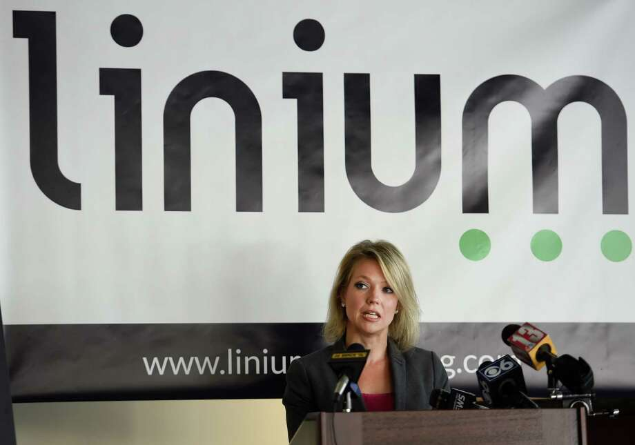 Miriam Dushane, Linium Recruiting's managing director for upstate New York outlines the results of the first ever Linium hiring index back on Oct. 12, 2015, at the offices of Transfinder's in Schenectady, N.Y.     (Skip Dickstein/Times Union) Photo: SKIP DICKSTEIN / 10033711A