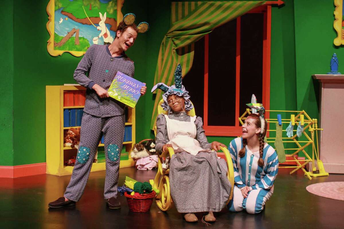 """Michael Chiavone stars as the Mouse, Maryann Williams as the Old Lady, center, and Shanae'a Moore as the Bunny in """"Goodnight Moon."""""""