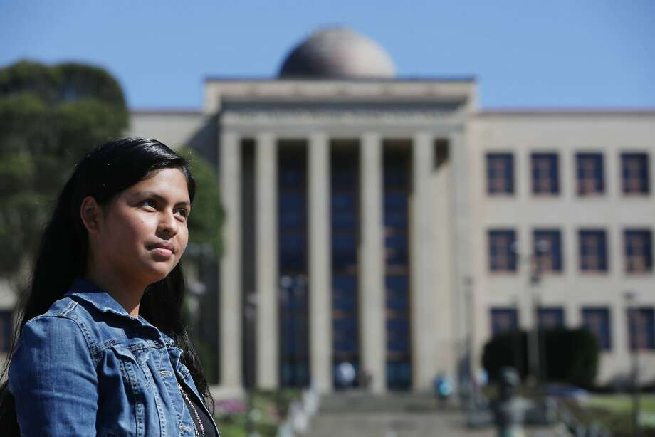 Zuleima Giron, City College of San Francisco student, stands in front of the Science Hall at City College of San Francisco for a portrait on Monday, October 12,  2015 in San Francisco, Calif. Photo: Lea Suzuki, The Chronicle