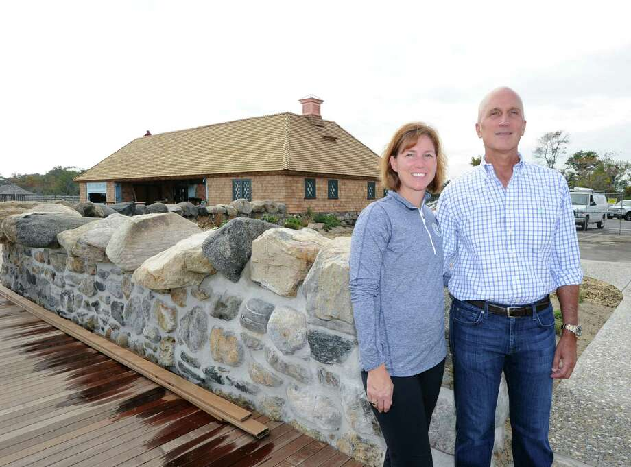 At right, Chris Franco, president of the Greenwich Point Conservancy, with his wife, Rachel, on site of the gateway and Old Barn restoration project that is nearing completion at Greenwich Point, Conn., Friday, Oct. 9, 2015. Photo: Bob Luckey Jr. / Hearst Connecticut Media / Greenwich Time
