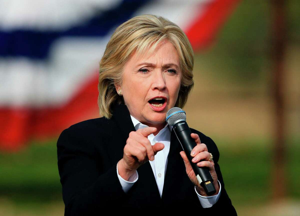 FILE - In this Oct. 7, 2015 file photo, Democratic presidential candidate Hillary Rodham Clinton speaks in Council Bluffs, Iowa. Clinton will be in San Antonio on Thursday, Oct. 15, 2015, and has been endorsed by several local politicians.