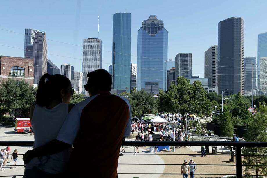 The downtown skyline is shown from the The Water Works during the recent Buffalo Bayou Park grand opening. Photo: Melissa Phillip, Staff / © 2015 Houston Chronicle