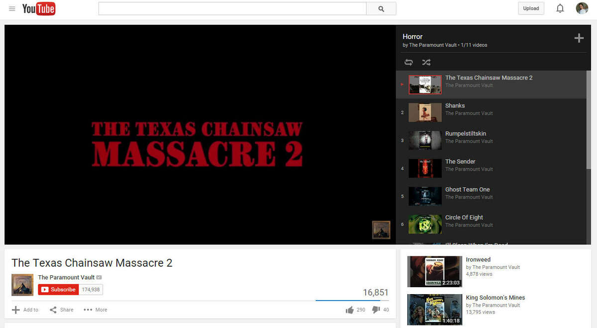 Texas Chainsaw Massacre 2 YouTube summary: From the director of the original Texas Chainsaw Massacre, this ghastly and hilarious sequel descends into your deepest, darkest fears as a wacked-out lawman goes after human meat-cutters with his own high-octane chainsaws in a horrific showdown with the legendary Leatherface and his entire cannibalistic family.