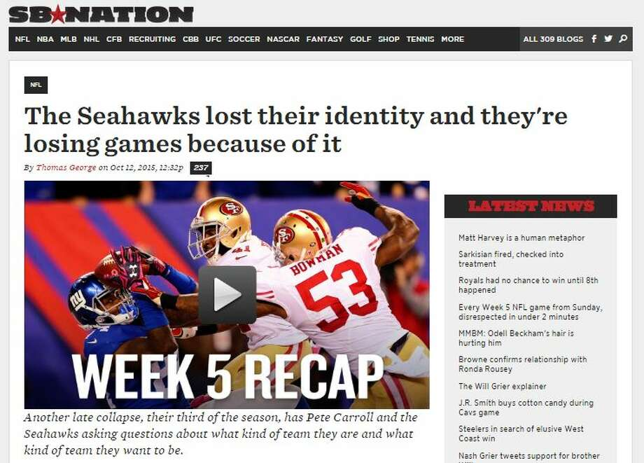 """SB Nation's Thomas George says that the intimidation factor that has been a part of much of Seattle's success the last couple of seasons hasn't been present so far in 2015.""""There have been games in recent seasons where the Seahawks, especially their defense, shook offenses to their core,"""" George wrote. """"That intimidation factor is gone. Opponents are not scared of the Seahawks anymore. The bullies are getting pushback. Teams are no longer falling in order against them. The Seahawks' novelty has worn off. Familiarity has bred comfort in opponents. Seattle must understand this. They are not going to win games on that reputation any longer.""""  Photo: Cohen, Stephen M, Seattlepi.com"""