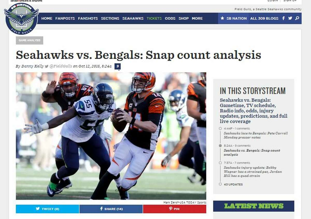 Over at Field Gulls, Danny Kelly took an in-depth look at the snap count distribution of Seahawks players on Sunday. All five of Seattle's offensive lineman played every snap against Cincinnati, while tight end Jimmy Graham was on the field for 73 percent of his team's offensive snaps.