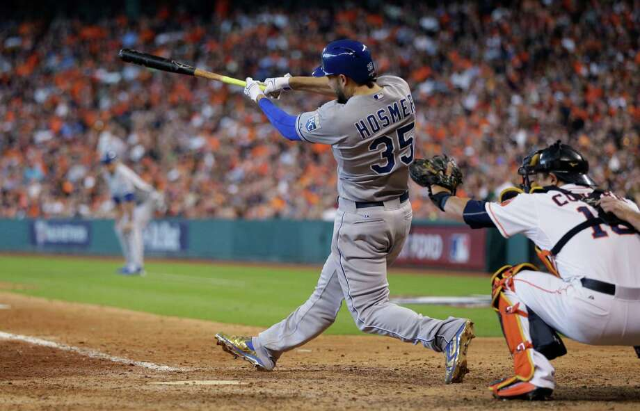 Kansas City Royals' Eric Hosmer (35) hits a two-run home run against the Houston Astros in the ninth inning during Game 4 of baseball's American League Division Series, Monday, Oct. 12, 2015, in Houston. (AP Photo/David J. Phillip) ORG XMIT: TXEG128 Photo: David J. Phillip / AP