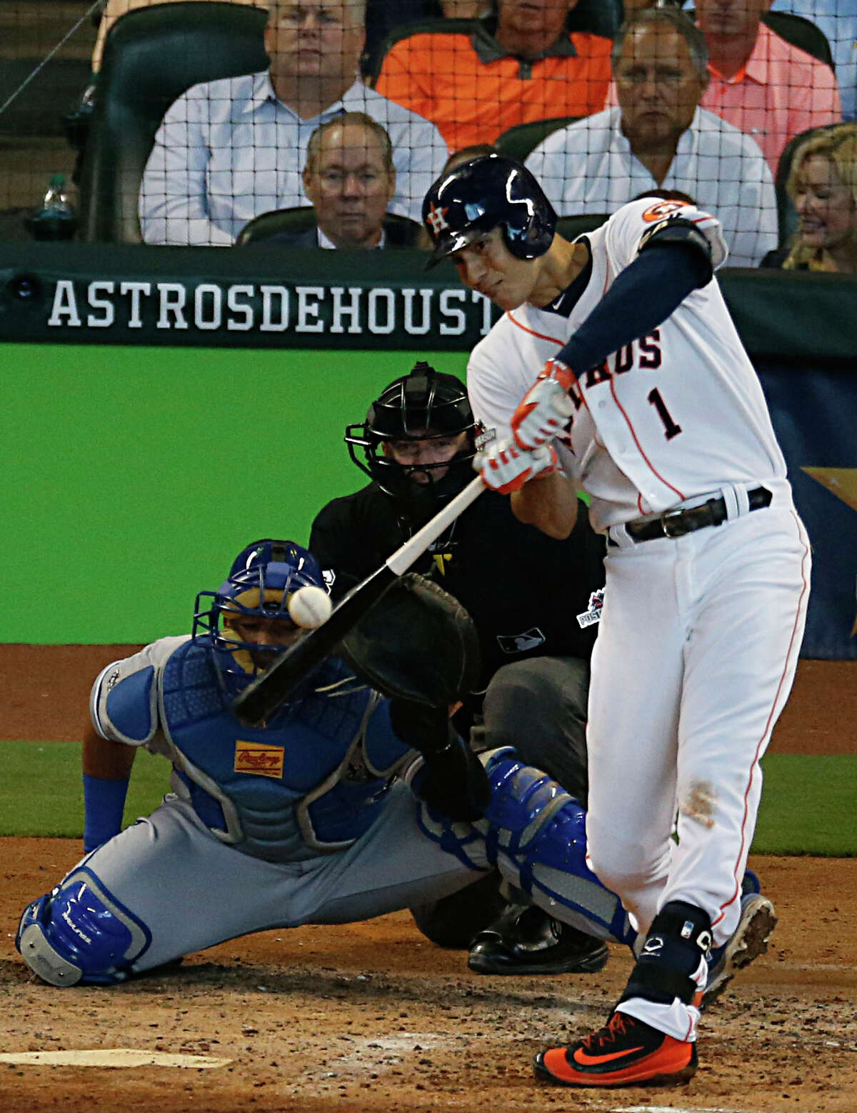 Houston Astros shortstop Carlos Correa hits a home run off of Kansas City Royals starting pitcher Yordano Ventura during the inning in game 4 of the ALDS playoff game at Minute Maid Park Monday, Oct. 12, 2015, in Houston. ( James Nielsen / Houston Chronicle )
