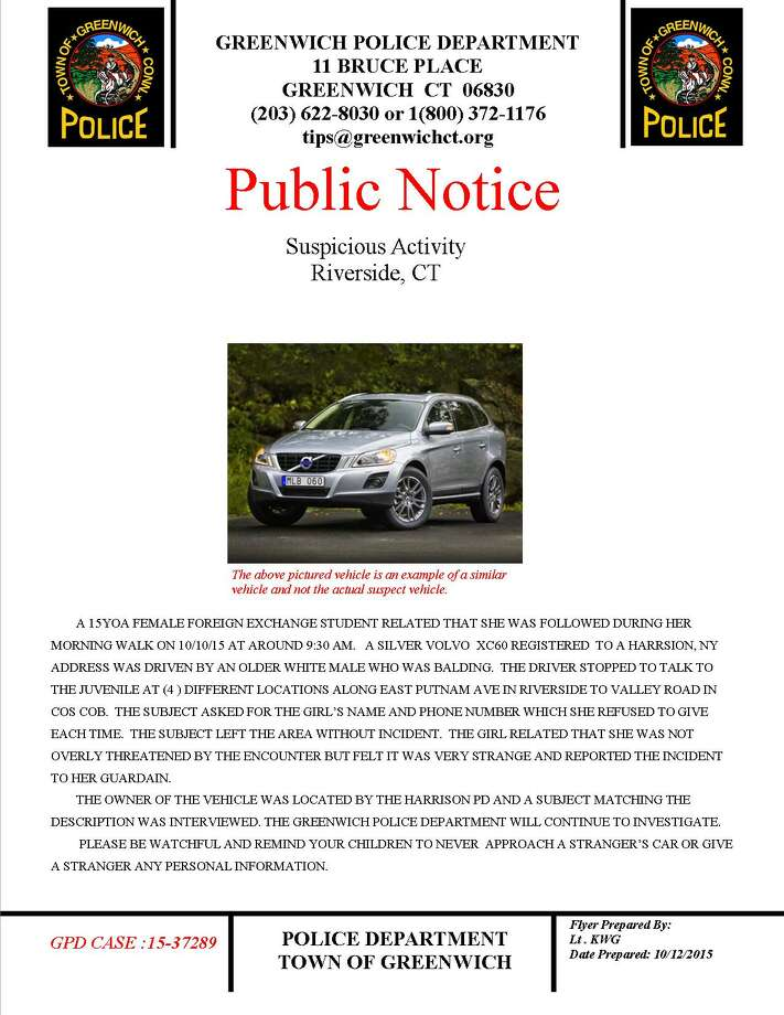 A Greenwich police flyer warning residents about suspicious activity Photo: Contributed Photo