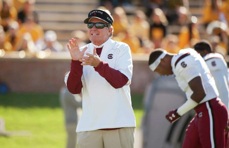 South Carolina head coach Steve Spurrier claps as his team warms up before an NCAA college football game against Missouri Saturday, Oct. 3, 2015, in Columbia, Mo. (AP Photo/L.G. Patterson) ORG XMIT: MOLG101 Photo: L.G. Patterson / FR23535 AP