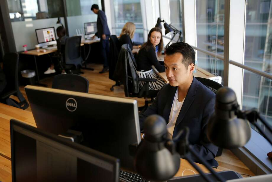 Foreo President Justin Wang works at the company's S.F. headquarters. Photo: Connor Radnovich, The Chronicle