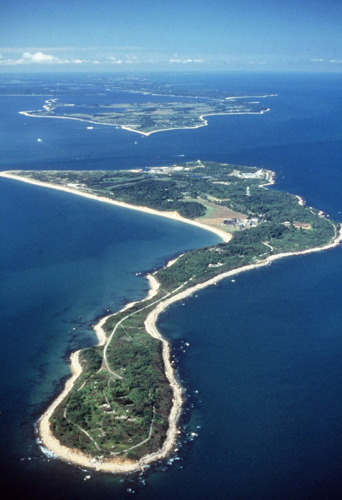 In this undated file photo provided by the U.S. Department of Agriculture, Plum Island is seen from the air in the waters off the northern shore of New York?'s Long Island.