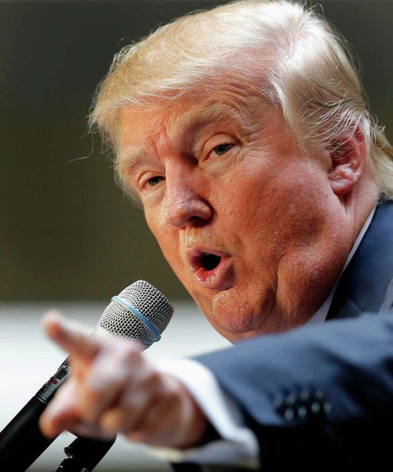 """Republican presidential candidate Donald Trump leads all GOP candidates among Connecticut Republican voters, according to a Quinnipiac University poll released Tuesday, Oct. 13, 2015. Trump also tops the GOP """"no way"""" list as 25 percent say they would """"definitely not"""" vote for him, followed by Jeb Bush with 22 percent who would not support him. Photo: Jim Cole / Associated Press / AP"""