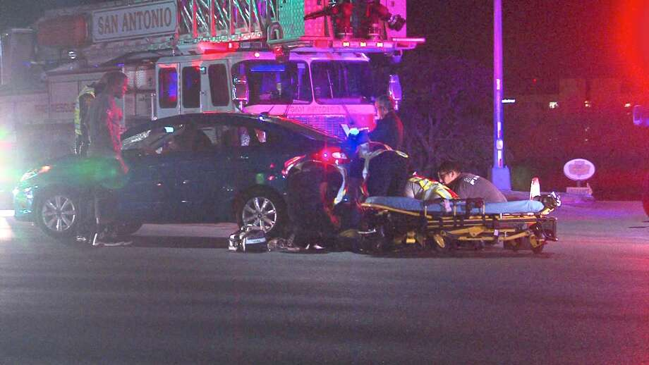 A pedestrian was hospitalized Monday night after being hit by a car on the Northwest Side. Photo: 21 Pro Video