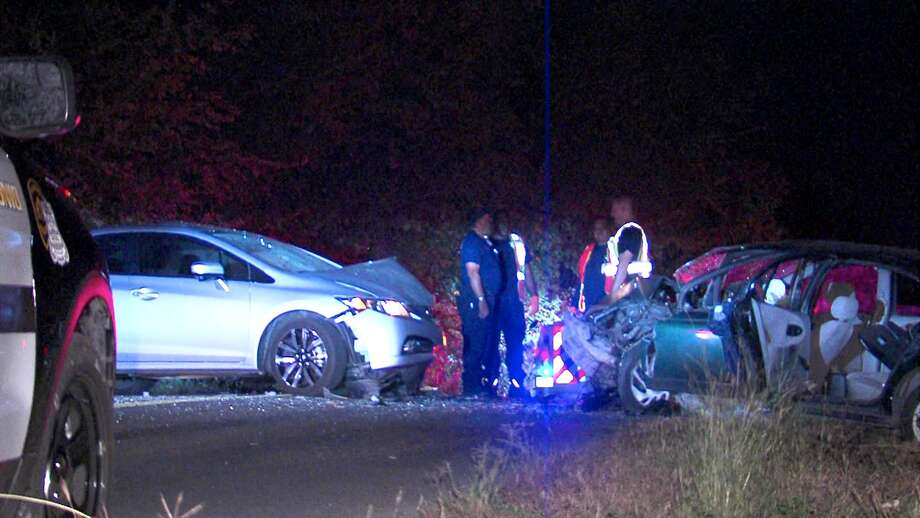 Four people were hospitalized following a head-on crash on the Northeast Side Monday night. Photo: 21 Pro Video