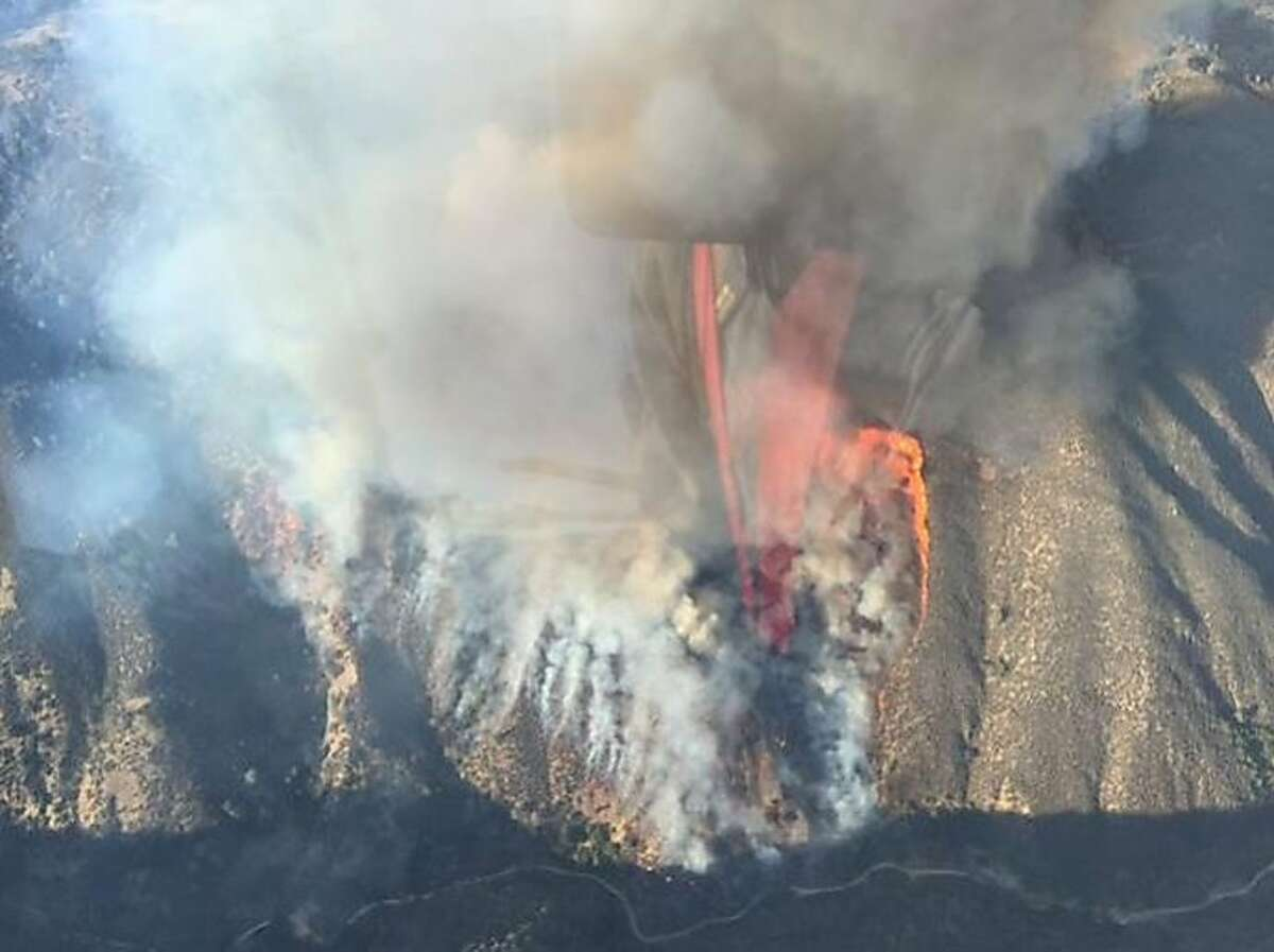 A 200-acre wildfire was burning south of Hollister in San Benito County Tuesday, Oct. 13, 2015.
