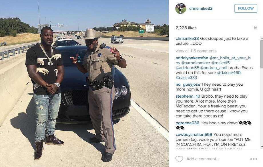 When Dallas Cowboys backup running back, Christine Michael, was stopped on his way to Sunday's game by a Texas Highway Patrol trooper, he probably didn't expect it to become a photo op.