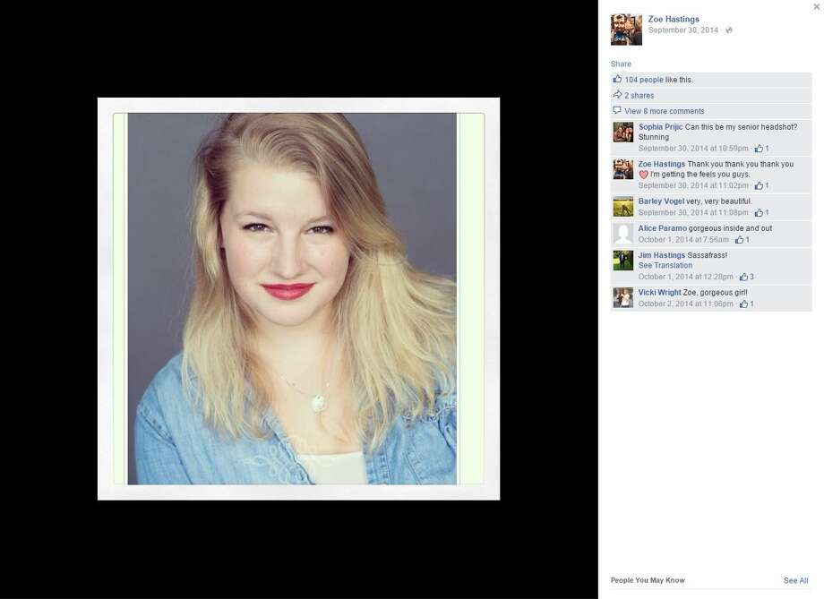 Police found the body of Zoe Hastings, who recently graduated from Booker T. Washington High School for the Performing and Visual Arts, in a white Honda minivan crashed in a creek near White Rock Lake, police said in a news release. Photo: Screenshot