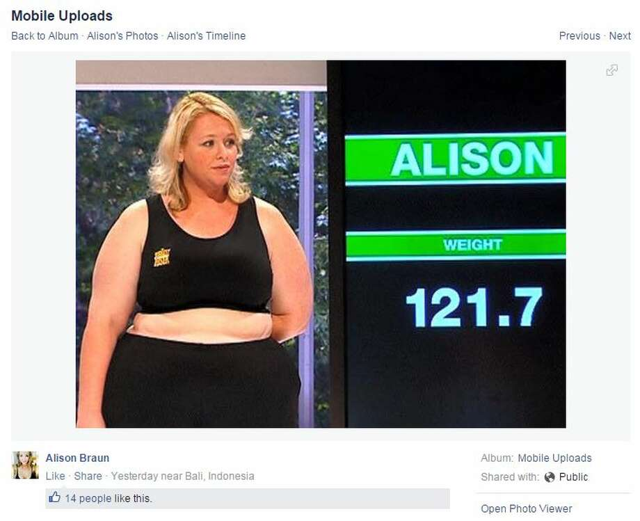 "Alison Braun was a contestant on the third season of ""The Biggest Loser Australia"" in 2008. She's been able to keep the weight she lost off, losing more than 120 pounds during her time on the show. Photo: White,  Tyler L, Courtesy/Facebook"