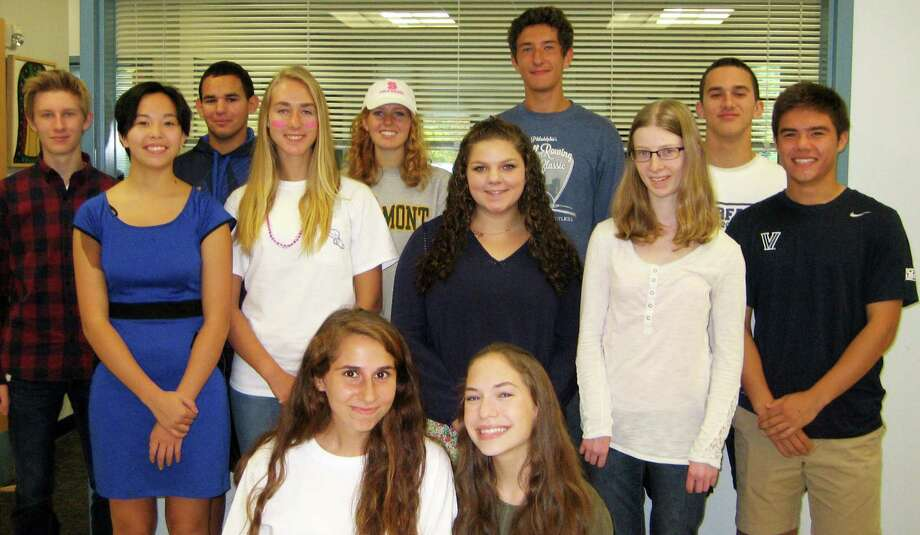 """""""Students of the Month"""" for November at Staples High School include, back row from left, Kyle Hickmann, Jonathan Bairaktaris, Carolynn van Arsdale, Harrison Burke and Jack Griffin; middle row, Bridget Groves, Manon DeVos, Diana Zogheb, Meghan Gannon and Kenji Goto; front, Francesca Truitt and Kayla Bilotti. Missing from photo are Lindy Sinclair and Reece Schachne. Photo: Contributed / Contributed Photo / Westport News"""
