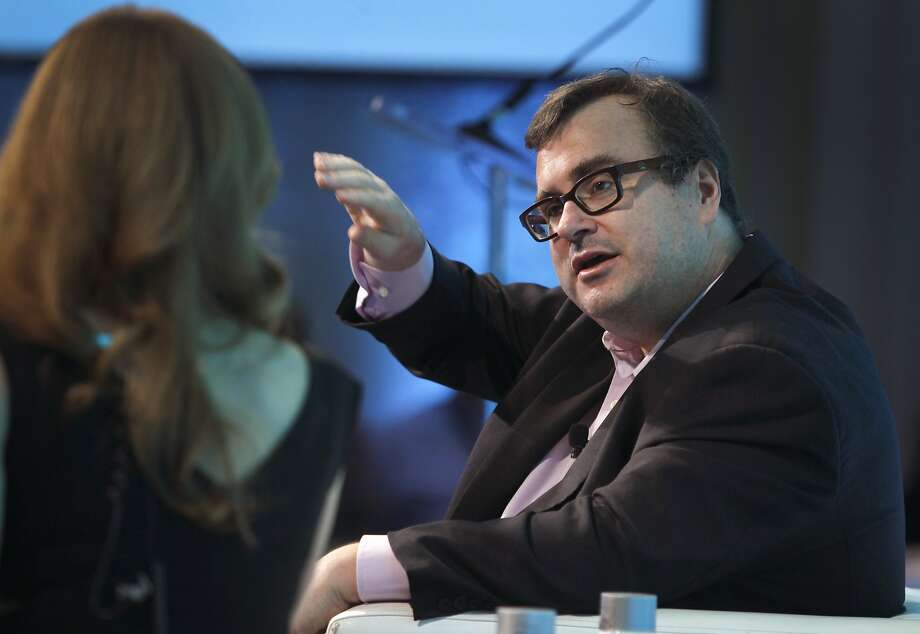 LinkedIn executive chairman and co-founder Reid Hoffman speaks with CNBC's Julia Boorstin during a fireside chat at the Internet Association's Virtuous Circle conference in Menlo Park, Calif. on Tuesday, Oct. 13, 2015. Photo: Paul Chinn, The Chronicle
