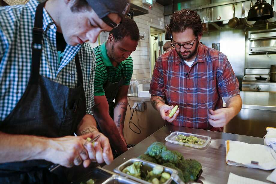 From right, Executive Chef Matthew Lightner, Shawn Phillips, and Robert Ojala work during prep at Ninebark in Napa. Photo: Russell Yip, The Chronicle