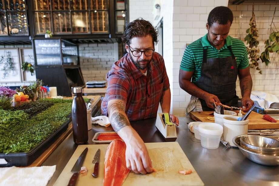 Executive Chef Matthew Lightner, left, and chef Shawn Phillips do prep work at Lightner's new restaurant, Ninebark, on Thursday, Oct. 8, 2015 in Napa, Calif. Photo: Russell Yip, The Chronicle
