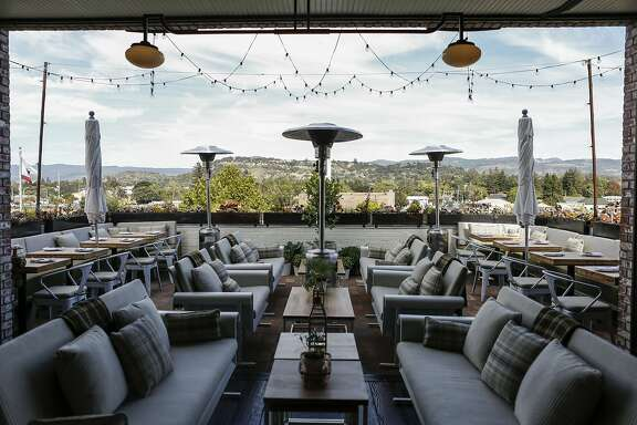 Outdoor seating overlooks part of Napa's downtown area at Executive Chef Matthew Lightner's new restaurant, Ninebark, on Thursday, Oct. 8, 2015 in Napa, Calif.