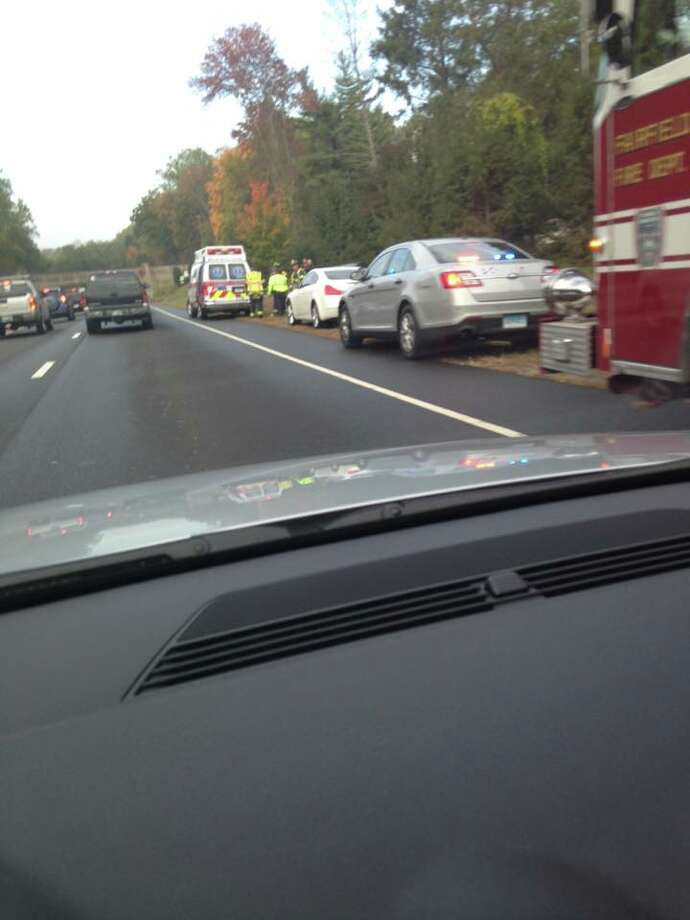 The scene of a crash on the Merritt Parkway in Fairfield on October 13, 2015. Photo: Contributed/Mary Field Fricke
