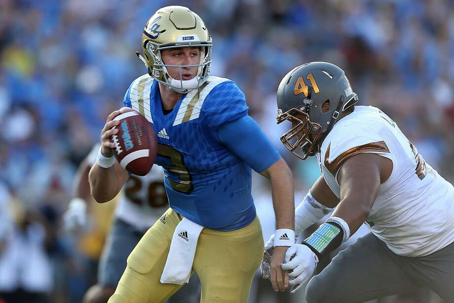 UCLA quarterback Josh Rosen (3) is sacked for a safety by Arizona State defensive lineman Viliami Latu, right, during the first quarter at the Rose Bowl in Pasadena, Calif., on Saturday, Oct. 3, 2015. (Robert Gauthier/Los Angeles Times/TNS) Photo: Robert Gauthier, McClatchy-Tribune News Service
