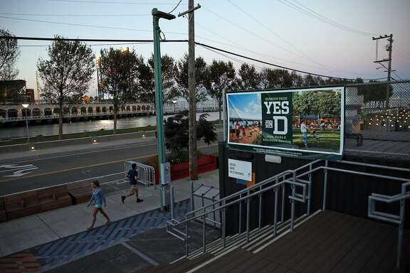 A sign supporting Proposition D at The Yard at Mission Rock at north end of Lot A near AT&T Park in San Francisco, Calif., on Monday, October 12, 2015.