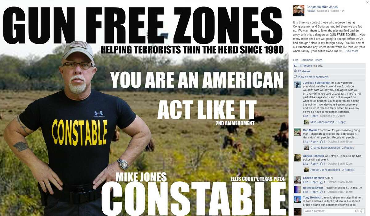 Ellis County Constable Mike Jones is on the defense after making a reference to