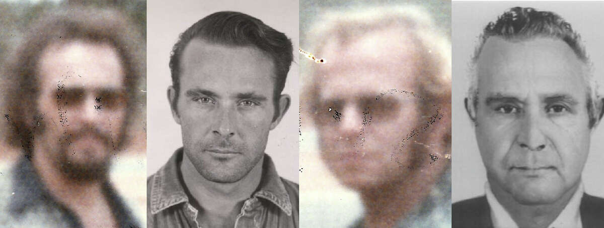 Images of John Anglin (top row) and Clarence Anglin (bottom row) from a mug shot before their 1962 from Alcatraz and one that allegedly shows John and Clarence living in Brazil in 1975.