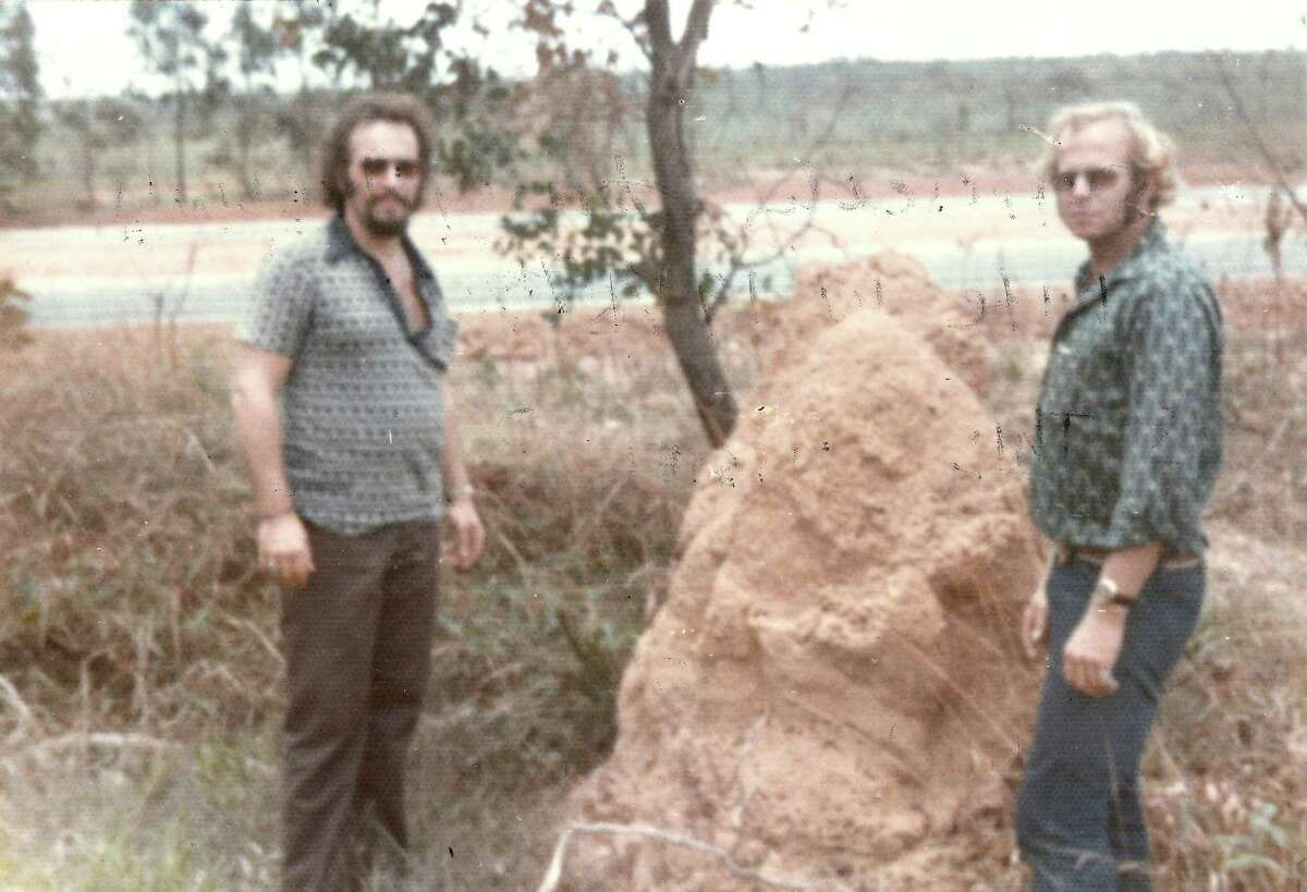 This image shared on the History Channel claims to shows Clarence (left) and John Anglin (right), two bank robbers who infamously escaped from Alcatraz in 1962, standing on a farm where they allegedly lived in Brazil in 1975. If alive today, John would be 85 years old and Clarence would be 84.